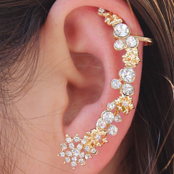 left one Brincos Ear Cuffs,Exaggerated Flower With Crystal Clips Nightclub EarCuff Clip on Earrings for Women Best Friends 1pcs