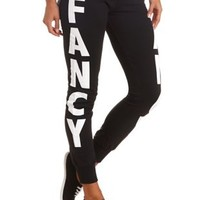 Fancy Graphic Skinny Sweatpants by Charlotte Russe - Black Combo