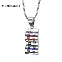 NECKLACE JEWELRY LGBT Double Row Rainbow Crystal Stone Stainless Steel