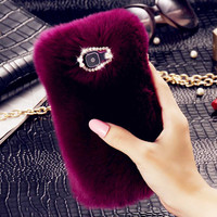 Diamond Luxury Women Phone Cases for Samsung Galaxy S7 S7 Edge S6 Note5 Rabbit Hair Back Cover Phone Case for iPhone 7 6 6Plus