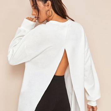 Drop Shoulder Split Open Back Pullover