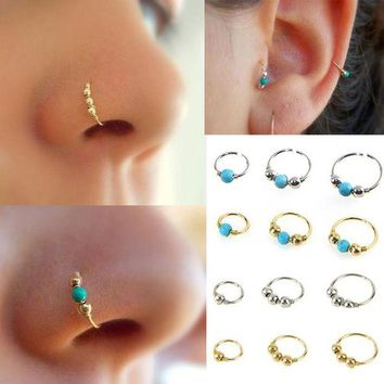 ac DCCKO2Q 2017 New Fashion Stainless Steel Nose Beads Nostril Round Body Piercing Jewelry Simple Design Best Gift