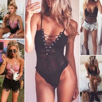 2017 Newest Womens Fashion Sexy Ladies Sleeveless Top Bodysuit Lace Leotard Tops Backless Halter Jumpsuit Casual