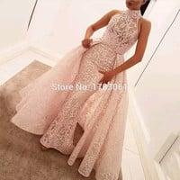 Custom Made Vintage 2017 Dubai Blush Long Prom Evening Dresses Halter Neck Puffy Remove Skirt High Quality Evening Mermaid Gowns