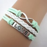 Mint green infinite LOVE boyfriend girlfriend leather bracelet,A11