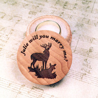 Custom Personalized Engraved Wedding Proposal Round Wood Ring Box, Deer Design