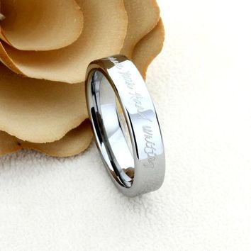 6mm Tungsten Wedding Band Promise Ring Inspiration Ring Personalized Hand Writing Ring Custom Engraving Your Own Message