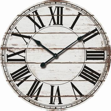 Rustic White Wood Over-sized Wall Clock Roman Numerals Country Farmhouse Decor