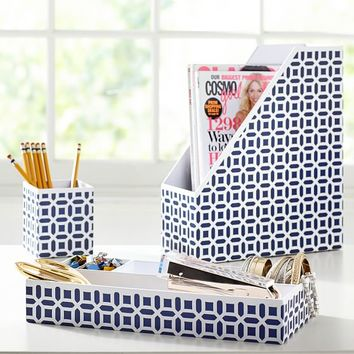 Peyton Desk Accessories Set, Navy Peyton