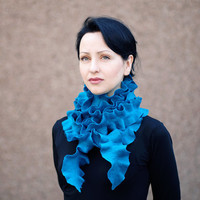 Long felted scarf Handmade felted wool ruffle scarf  long scarf Neck by ProninA