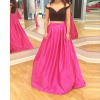 Two Piece Black Satin Prom Dresses