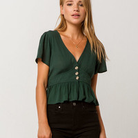 SKY AND SPARROW Button Waist Peplum Emerald Womens Crop Top