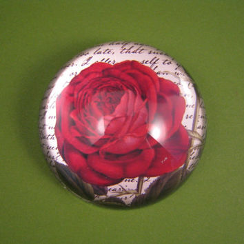 Bourbon Red Rose and Script Round Medium Glass Dome Paperweight Floral Home Decor June Birthday