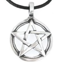 Pewter Pentagram Pagan Wiccan Pentacle Pendant on Leather Necklace