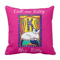 White Cat with Monogram Call me Mrs Kitty Throw Pillow