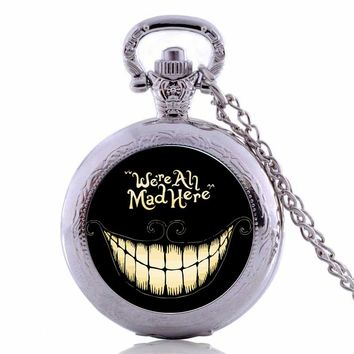New Arrivals Alice in Wonderland We're All Mad Here Quartz Pocket Watch Analog Pendant Necklace Mens Womens Pocket Watch P482