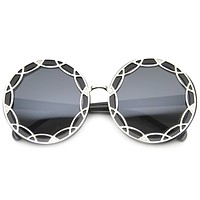 Women's Retro Round Art Deco Design Oversize Sunglasses 9758