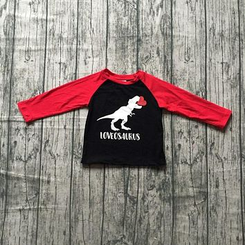 new spring Valentine's Day baby boy's Dinosaur love heart love osaurus cotton boutique cute topT-shirt reglans childen clotes