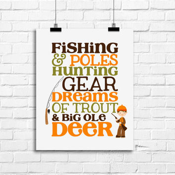 Fishing poles and hunting gear, baby boy decor, fishing hunting boy decor, baby boy nursery art, dreams of trout and big ole deer