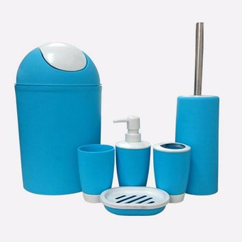 Ceramic Bathroom set of six-piece, lotion bottles,Cups toothbrush cup,soap,trash can,toilet brush