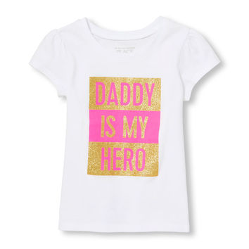 Toddler Girls Short Sleeve Glitter 'Daddy Is My Hero' Graphic Tee | The Children's Place
