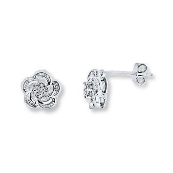 Diamond Flower Earrings 1/10 ct tw Round-cut Sterling Silver