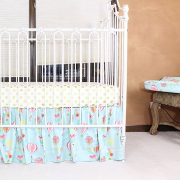 Hot Air Balloon Baby Bedding | Aqua, Coral Crib Bedding Set