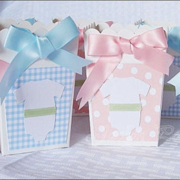 Twins Baby Shower, Popcorn Box, First Birthday Favor, Boy And Girl, Blue Gingham, Pink Polka Dots, Candy Holder, Dessert Buffet, Set Of 20