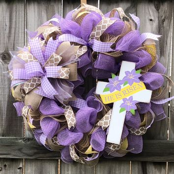 He is Risen Easter Wreath | Wall Decor | Front Door Decor | Door Hanger | Burlap Jute Mesh