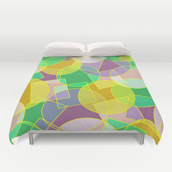 Stained glass colorful geometric mosaic pattern Duvet Cover by Natalia Bykova