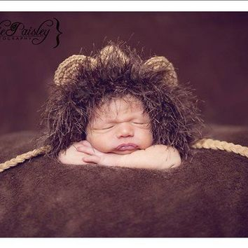 Lion Hat Baby Animal Crochet Jungle Newborn by CreativeDragonfly