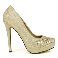 Celeste Ingrid-07 Embellished High Heel Dress Pump in Gold @ ippolitan.com