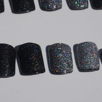Sparkly Black Nails- Silver Holographic Accent Nails- Fake/False Nails- Acrylic Nails- Press On Nails- Hand Painted