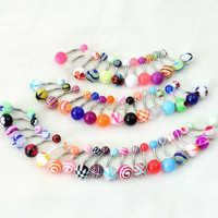 Hot Factory Price! Lot Of 50 Mix Color Body Jewelry Stainless Acrylic Ball Barbell Bar Navel Belly Button Rings