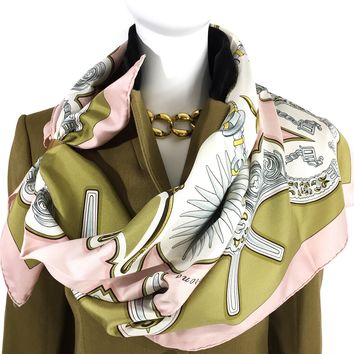 Hermes Silk Scarf Les Eperons Pink Early Issue