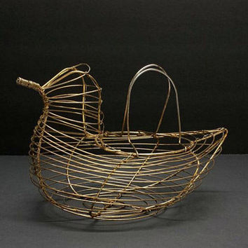 Gold Wire Egg Gathering Basket French Country Farmhouse Vintage Kitchen Decor Holder Carrier Container Rustic Farm Primitive Hen Rooster