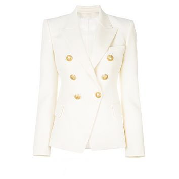 White Double Breasted Gold Button Blazer