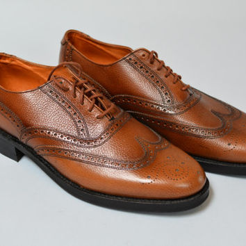 NOS Deadstock 60s Brogues - John Hampton Brown Men's Wingtips Oxfords Made in England 8 9