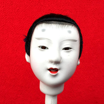 Japanese Porcelain Man Doll Head D5-16 Samurai Doll Head