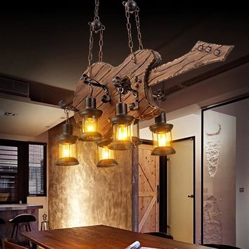 Industrial Pendant Lamp 6 Head Old Boat Wood rustic light iron pendant