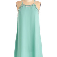 ModCloth Vintage Inspired Mid-length Spaghetti Straps Shift Gallery Curator Dress in Aqua