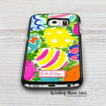 Easter Wallpaper - Lilly Pulitzer Samsung Galaxy S6 Case Cover for S6 Edge S5 S4 Case