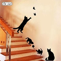 Cat Play Butterflies Removable Decals For Walls - 1 Set/Pack