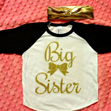 Infant Gold Big Sister Raglan T-shirt- Big sister announcement - does not include bow