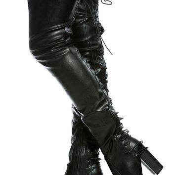Black Faux Leather Rear Lace Up Chunky Thigh High Boots @ Cicihot Boots Catalog:women's winter boots,leather thigh high boots,black platform knee high boots,over the knee boots,Go Go boots,cowgirl boots,gladiator boots,womens dress boots,skirt boots.