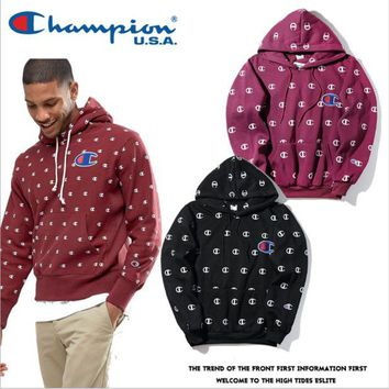 ONETOW Champion printed hoodies large embroidered sweater Men and women couples Harajuku wind velvet jacket