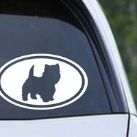 Westie West Highland Terrier Dog Silhouette Euro Oval Die Cut Vinyl Decal Sticker