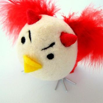 Devil   Needle Felted Chick   Wool Felt Bird