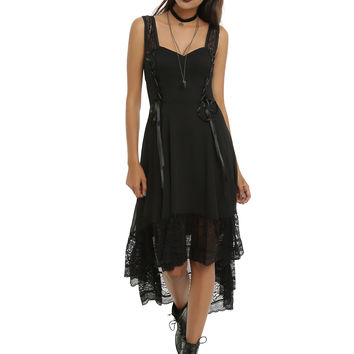 Royal Bones By TRIPP Black Sleeveless Hi-Low Dress