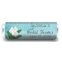 Dots and Flowers Personalized Bridal Shower Wedding Mint Rolls, candy favors for showers, honorings, parties and more!